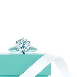 Tiffany & Co Tiffany Setting Diamond on a Tiffany's blue box with ribbon