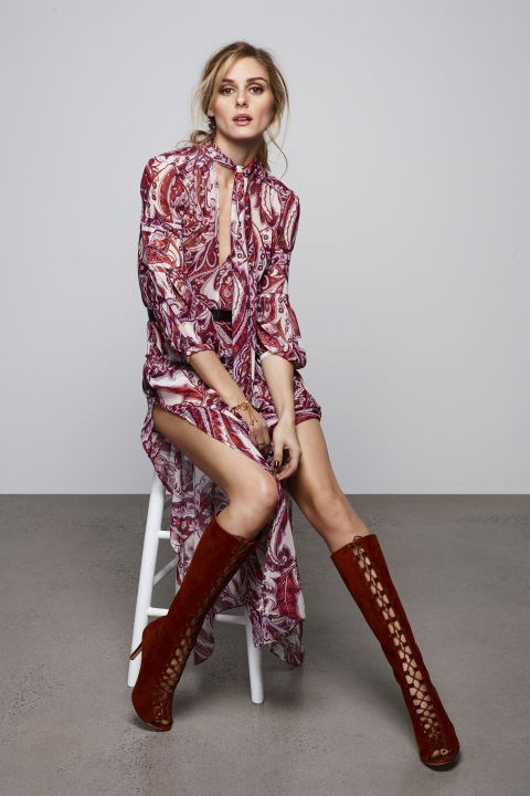 70s paisley printed dresses (with on-trend neckties, of course) feature alongside knee-high plum boots.