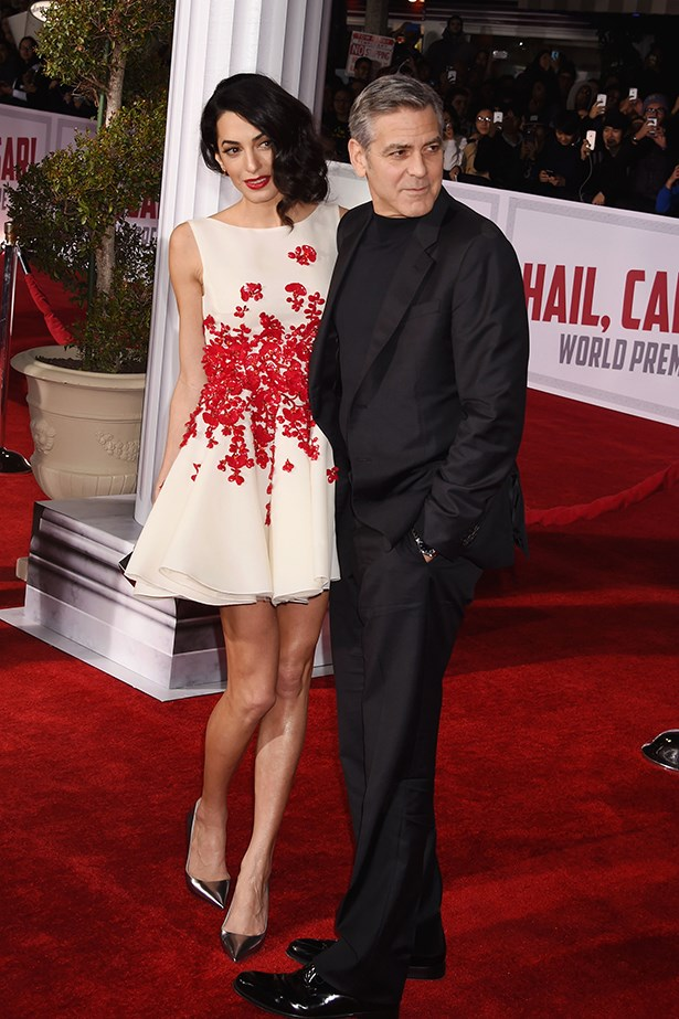 Amal paired her white and red Giambattista Valli Couture fit and flare dress with silver pumps and the best accessory of all - George Clooney.