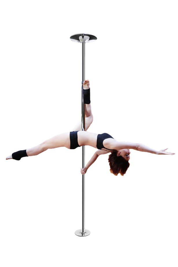"The LA Shop <a href=""http://www.thelashop.com/removable-exotic-stripper-dancing-pole-dance-pole-44mm.html?gclid=CMranpKN18oCFQoKaQodsjEMQw"">Spinning Static Dancing Stripper Pole Dance Removable Exotic</a>, $128."