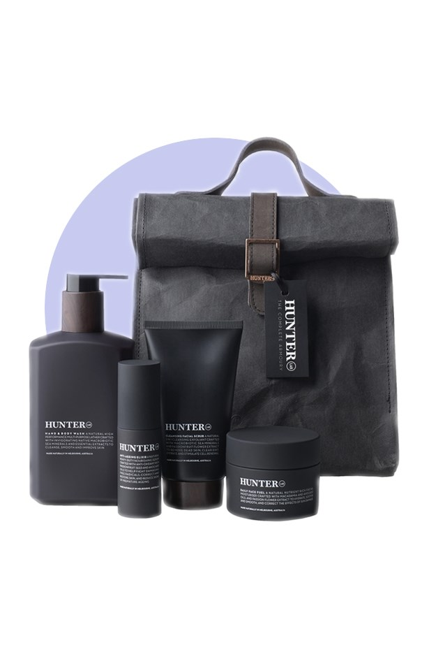 <strong>Hunter Lab</strong> <br><br> Well-designed, masculine products packed with effective botanic ingredients (like cold-pressed oils and macrobiotic sea minerals) make this Melbourne-based label perfect for the man who refuses to compromise on style. Plus their matte black tubes are guaranteed to sit perfectly with your lotions and potions. <br><br>