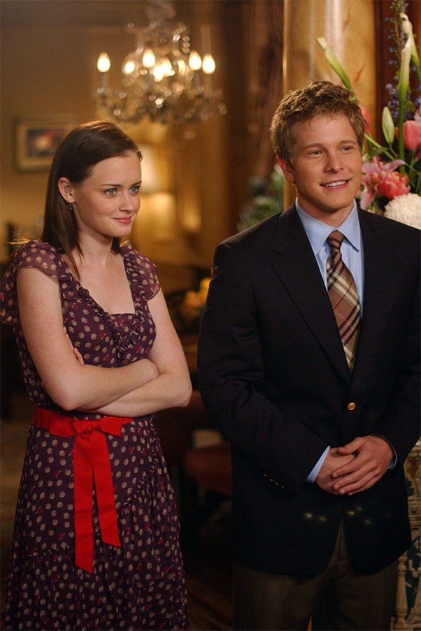 Alexis Bledel as Rory Gilmore and Logan Huntzberger on the show Gilmore Girls.