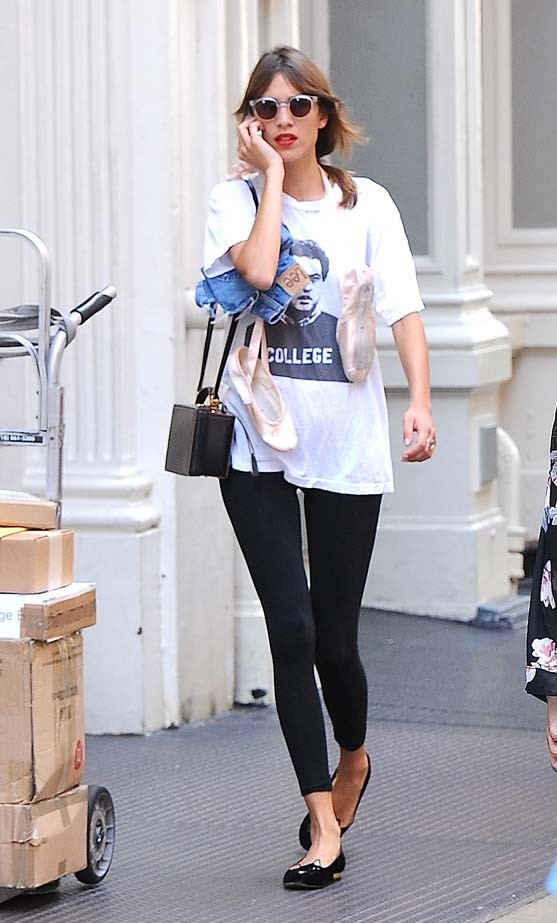 Alexa Chung looks chic leaving her ballet class.