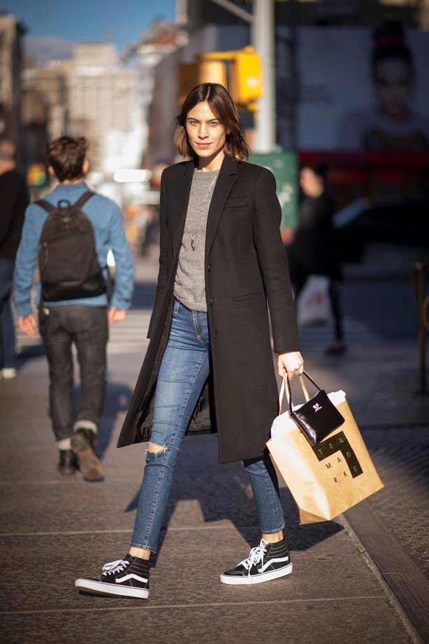 Alexa goes off duty in a pair of Vans and a man style coat.