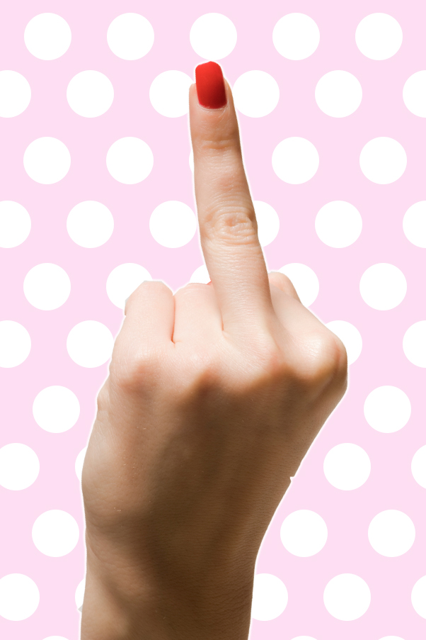 A woman's middle finger