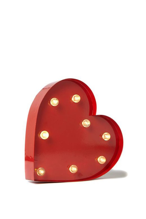 "Light-up heart, $49, <a href=""http://cottonon.com/AU/p/typo/small-letter-marquee-light/2013709527981.html?region=AU"">Typo</a>"