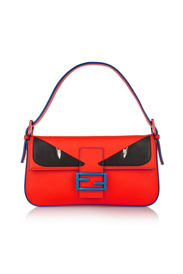 "Fendi handbag, $2566, <a href=""https://www.net-a-porter.com/au/en/product/625361/Fendi/bag-bugs-baguette-leather-shoulder-bag"">Net-A-Porter</a>"
