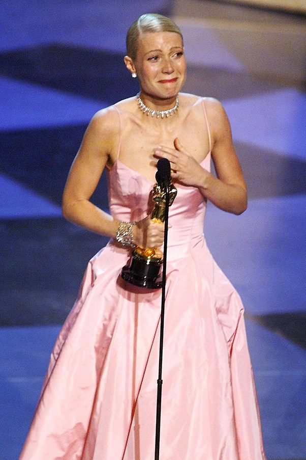 Gwyneth Paltrow cries while receiving her Oscar at the 1999 Academy Awards