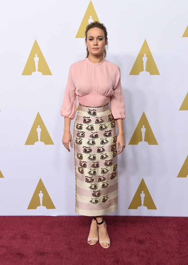 Front-runner Brie Larson wore a sweet pink ensemble with eye motifs.