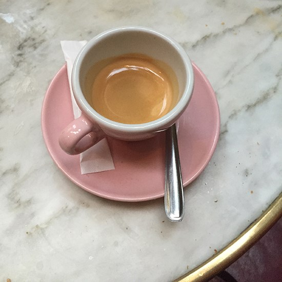 We reenergised: with espresso coffee in cute pink cups.