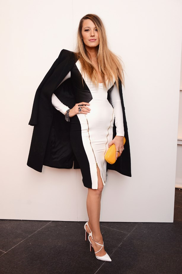 Blake adds the overcoat to a graphic dress.