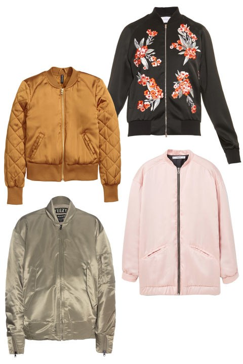 <em><strong>SATIN BOMBER JACKETS</strong></em><p> <p> MA-1 bomber jackets received major attention thanks to street style twins Kendall and Gigi. The satin version is a luxurious upgrade. <p> Jonathan Saunders Cecily Embroidered Satin Bomber Jacket, $2,101; matchesfashion.com <p> H&M Pilot Jacket, $40; hm.com <p> Mango Satin Bomber Jacket, $100; mango.com <p> Yeezy Bomber Jacket (Season 1), $1,306; mytheresa.com