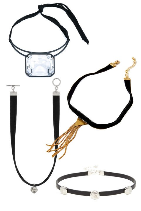 <em><strong>CHOKER NECKLACES</strong></em> <p> We're calling it now: The little black choker will be a popular accessory this week. It's low-key yet instantly upgrades any outfit. <p> Rosie Assoulin Ice Ice Baby Cyrstal Choker, $695, farfetch.com <p> The Shimmer Velvet Choker Necklace, $20; urbanoutfitters.com <p> Saint Laurent Lolita Sweet 16 Necklace, $20; ysl.com <p> ASOS Mini Western Disc Choker, $14; asos.com