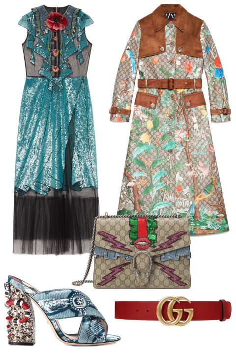 <em><strong>ALL GUCCI EVERYTHING</strong></em><p> <p> Sorry (not sorry), guys, we've still under the Gucci spell. Sequined trompe l'oeil dresses, monogrammed belts, Dionysus bags, classic loafers and sparkly mules - Alessandro Michele's whimsical creations will surely be seen everywhere. <p> Embroidered Tulle Dress, $7,00; gucci.com <p> Tian Print GG Supreme Coat, $5,990; gucci.com