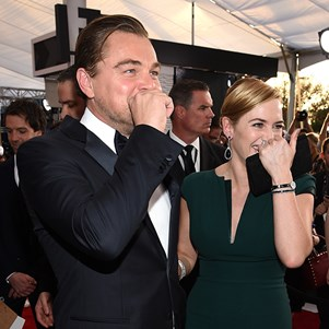 Leonardo DiCaprio and Kate Winslet at the Screen Actors Guild Awards 2016.