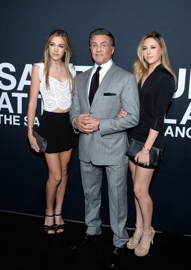 Sylvester Stallone, Sistine Stallone and Sophia Stallone.