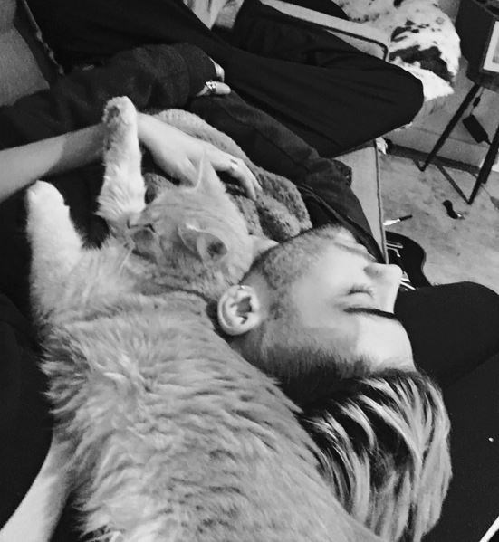 Gigi Hadid posted this sweet snap of her boyfriend Zayn Malik and their cat, captioned with a single arrow-pierced love heart.