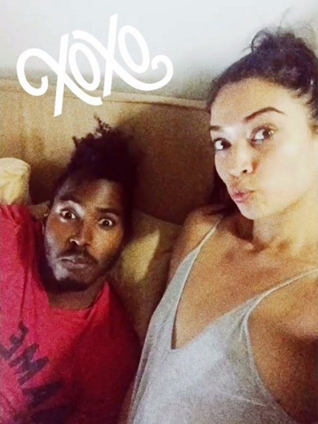 Shanina Shaik snapchatted this one from bed with fiance DJ Rukus.