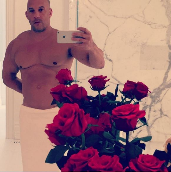 """Vin Diesel got a bit (see: a lot) raunchy for his loved-up day. He captioned this risque pic, """"Happy V day..."""""""