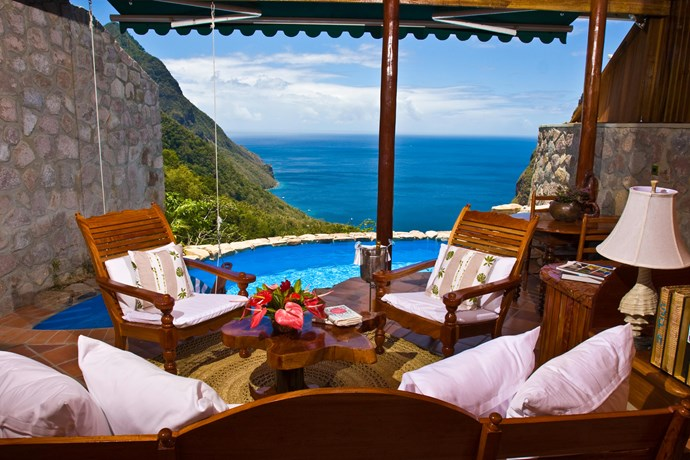 Ladera Resort, St. Lucia: Located on a Caribbean island not too far from Rihanna's native Barbados, this picture perfect hotel has everything you need to never, ever leave your hotel room. Yes, that includes a swing over your private pool.
