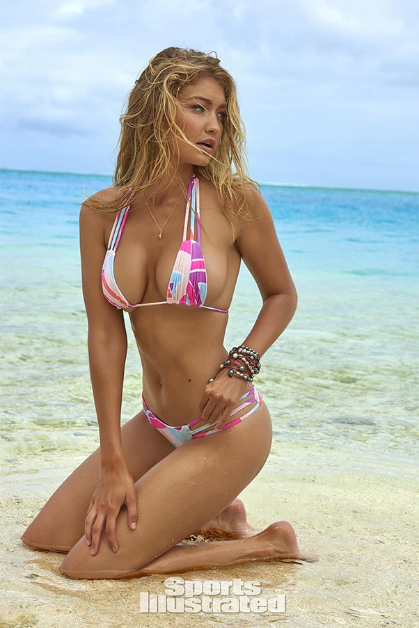 Gigi Hadid models for Sports Illustrated Swimsuit Issue in a bikini.