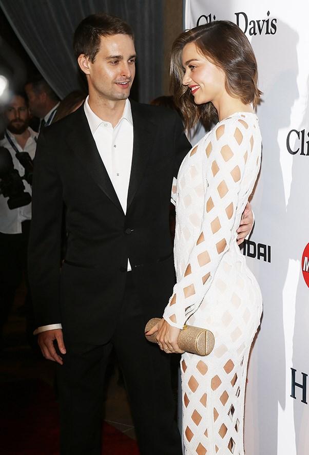 Miranda Kerr and Evan Spiegel on the pre-GRAMMYs red carpet.