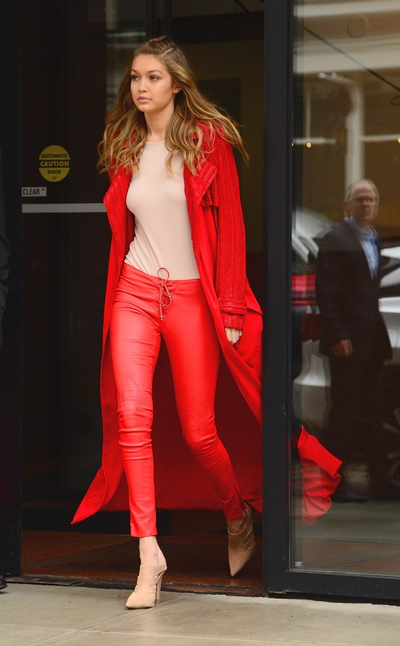 Gigi went monochrome red in New York.