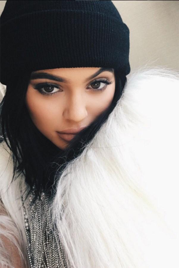 Kylie Jenner selfie in beanie before Yeezy Season 3 show.