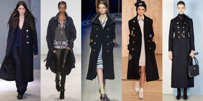 <strong>THE NAVY OVERCOAT</strong> <br><br> The pre-Autumn/Winter nautical trend continues strong into AW16 with navy-inspired calf and ankle-length coats. If you're on the shorter side wear yours with heels to keep it from swallowing your frame. <br><br> <em>As seen at Tibi, Marissa Webb, Tommy Hilfiger, Coach and RED Valentino</em>