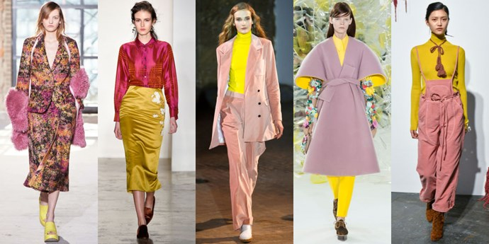 <strong>PINK AND YELLOW</strong> <br><br> It's not often that designers inject such bright colours into their Autumn/Winter collections, but this season a few brands really went for it. The interesting colour combination is a welcome contrast to the darker hues we regularly see during the cold weather months. <br><br> <em>As seen at Sies Marjan, Brock Collection, Creatures of Comfort, Delpozo, and Ulla Johnson</em>