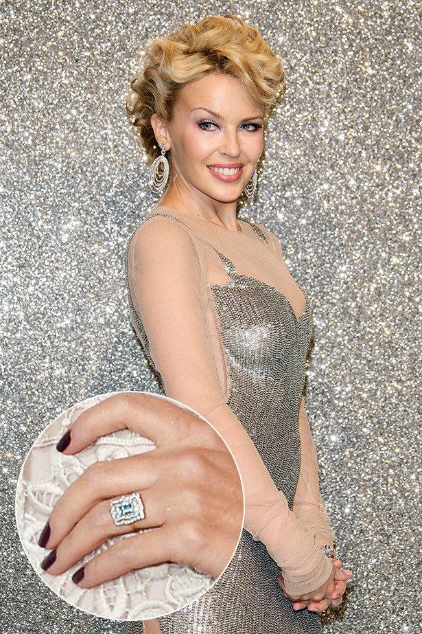 Although it hasn't been confirmed confirmed, we can guess that this big rock proooobably means Kylie Minogue's young lover Joshua Sasse got down on one knee over the Valentine's weekend.