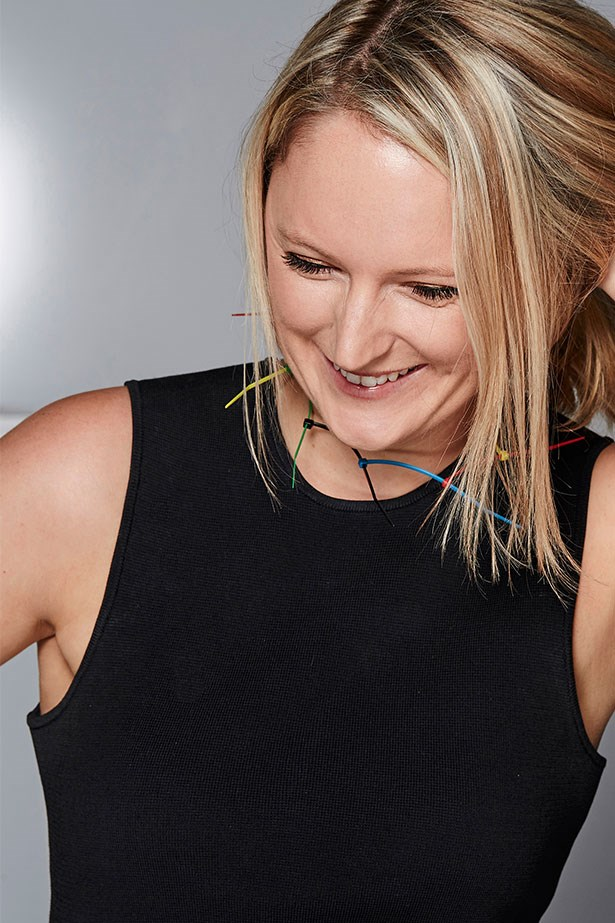 """BROOKE BICKMORE, WORKFLOW DIRECTOR<p> <p> Trend: Industrial accessorising<p> <p> """"I love bold jewellery but wearing (what is essentially) cable ties around my neck felt a little too Fifty Shades Of Grey for every day – even if it was a hit at Christopher Kane!""""<p> <p> Cable ties (worn as necklace), $9.95 for 125, Jaycar Electronics, jaycar.com.au"""