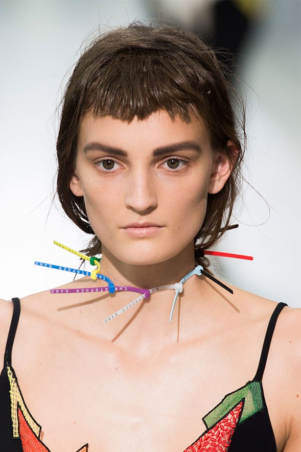 Trend: Industrial accessorising<p> <p> Inspiration: Christopher Kane SS16
