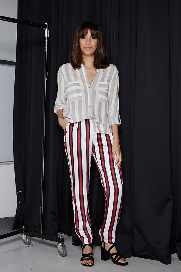 """EDEN ABAGI, DEPUTY ART DIRECTOR <p> <p> Trend: Bold stripes<p> <p> """"I'm not much of a trousers kind of girl, let alone someone who would wear bold stripes, so this was going to be a tricky one... On the day of the shoot, I still felt a tad uncomfortable, but I was surprised by how many compliments I got from the other girls. Next time, I think I'll give the bold-stripe trend a go with a cute shift dress, but I'm glad I got out of my comfort zone, even if only for an hour.""""<p> <p> Top, $49.95, Zara, (02) 9376 7600; pants, $159.95, Finders Keepers, finderskeepersthelabel.com.au; heels, $265, Senso, senso.com.au"""