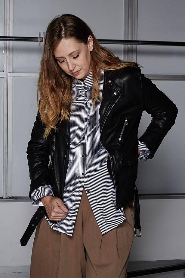 """GENEVRA LEEK, ASSOCIATE EDITOR<p> <p> Trend: The moto jacket <p> <p> """"I've had an ongoing fantasy that one day I'll stumble across the perfect black moto jacket and all my fears about not being quite cool enough to carry it off will melt away as I shrug into the buttery-soft leather. Today, I think I've met my match. This oversized shape and slightly longer length is what I've been missing in my mannish, shirt-led wardrobe all these years – no standard skinny jeans, ripped tee or combat boots required. This jacket is cool enough for both of us!""""<p> <p> Jacket, $1,200, Scanlan Theordore, scanlantheodore.com"""