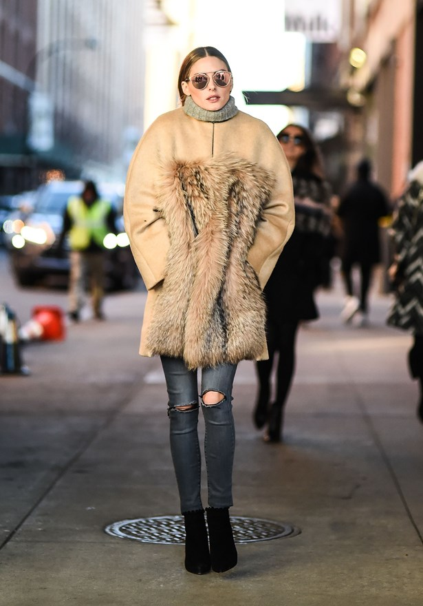 Nothing like a furry jacket to cure the New York chill.