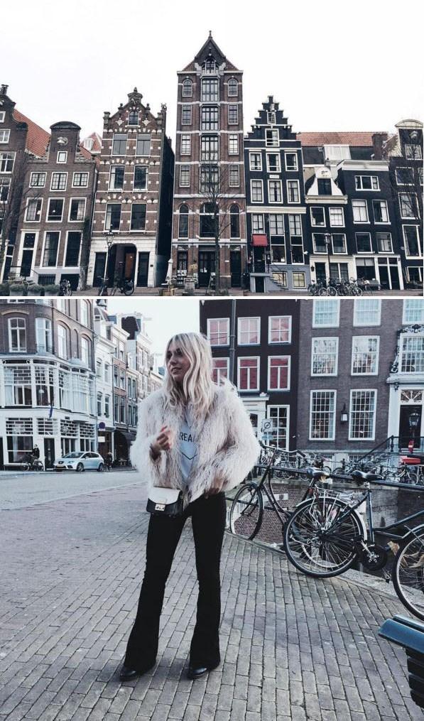 Girl standing in Amsterdam.