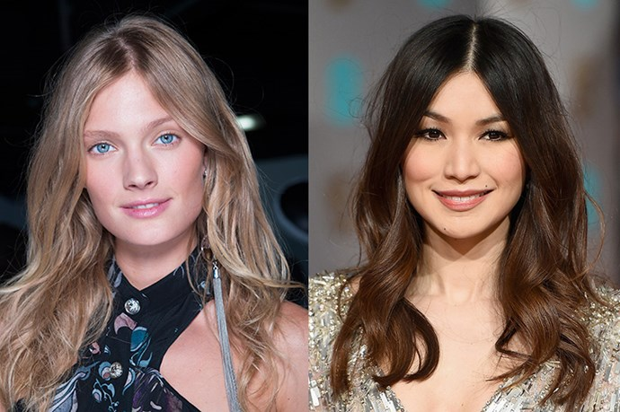 <strong>Runway Inspiration: Versus </strong> <br><Br> <strong>Gemma Wang</strong>parts her tousled waves in the centre at the <strong>British Academy Film Awards</strong>.