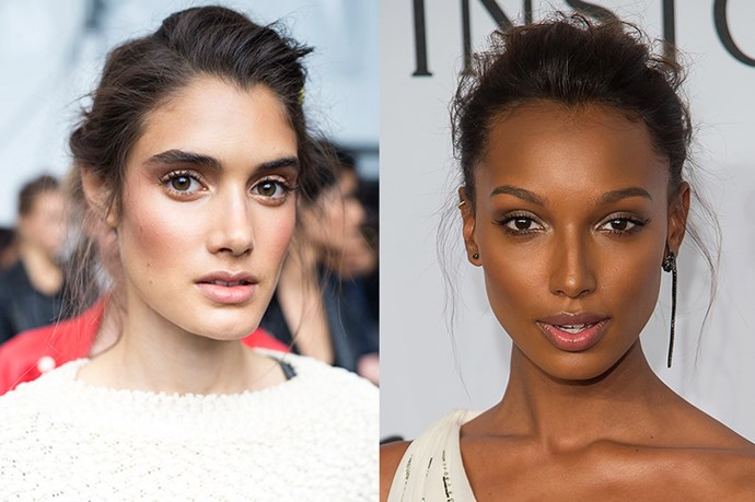 <strong>Runway Inspiration: Alberta Ferreti</strong> <br><Br> <strong>Jasmine Tookes</strong> opts for a romantic chignon at the <strong>amFAR New York Gala</strong>.
