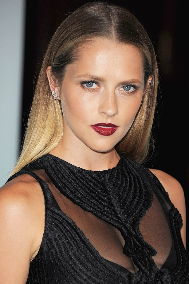 2015, The Aussie actress shows off her dark side with sleek straight locks and a bold burgundy lip at the Women in Film Crystal + Lucy Awards.