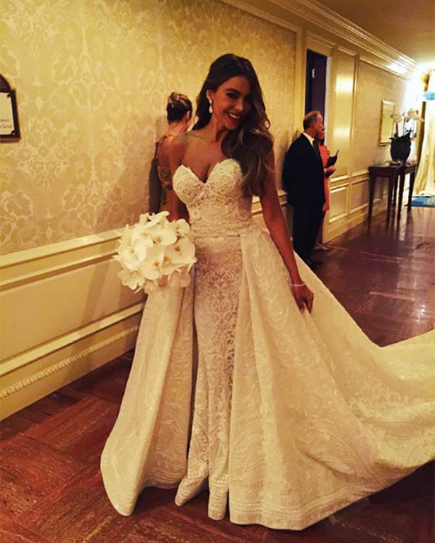 Sofia Vergara married Joe Manganiello in this strapless gown.