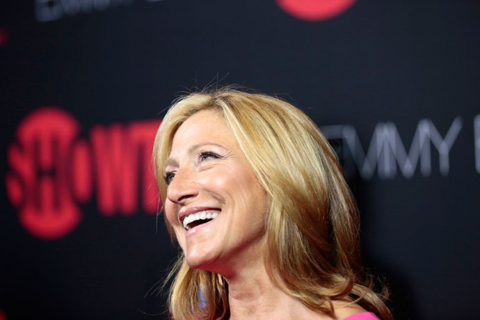 """<strong>EDIE FALCO (<em>NURSE JACKIE</em>)</strong> <br><br> """"I bought this dress yesterday and they left that security tag in it. So it's in there right now. It would only happen to me. It looks like I stole the damn thing! I can't wait to get back to New York and tell them they left it in my dress."""""""
