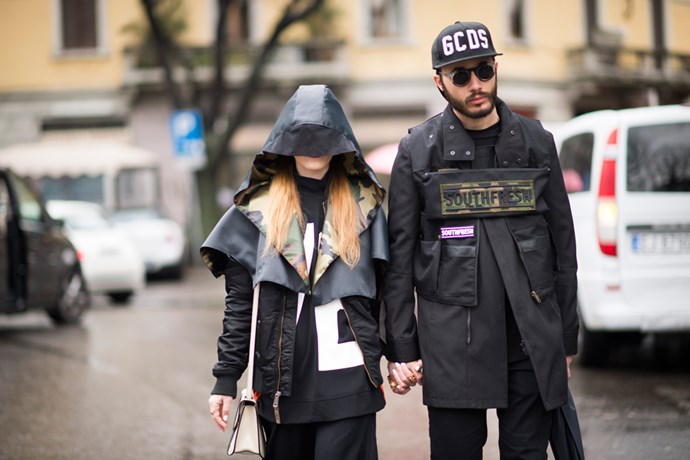A couple at Milan Fashion Week