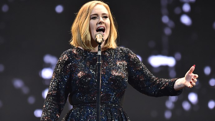 Adele performing on her world tour