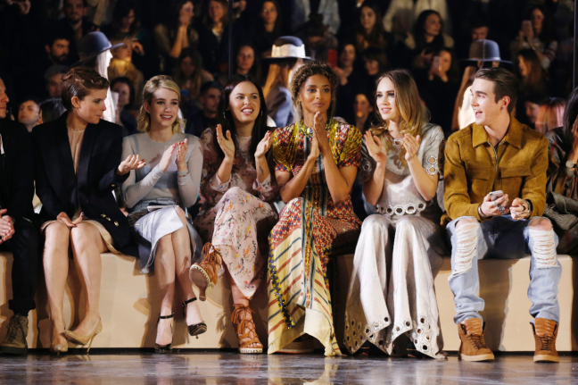Front row, from left: Kate Mara, Emma Roberts, Ciara, Suki Waterhouse and Gabriel-Kane Day-Lewis.