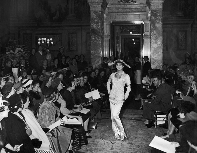 Christian Dior fashion show at Blenheim Palace in Oxfordshire in 1958.