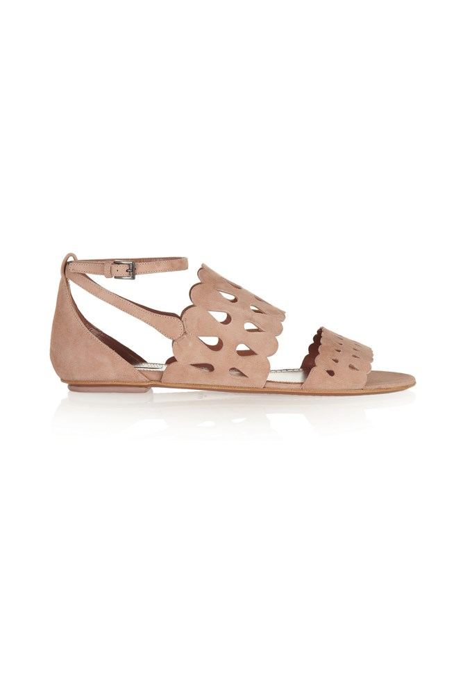 "<a href=""https://www.theoutnet.com/en-AU/product/Alaia/Laser-cut-suede-sandals/431234 "">Sandals, $673 (were $1452), <strong>Alaïa </strong>at theoutnet.com</a>"