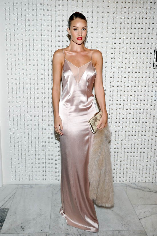 <strong>Rosie Huntington-Whiteley, January 2016</strong> <br><br> Galvan for Opening Ceremony Dinner hosted by Swarovski.