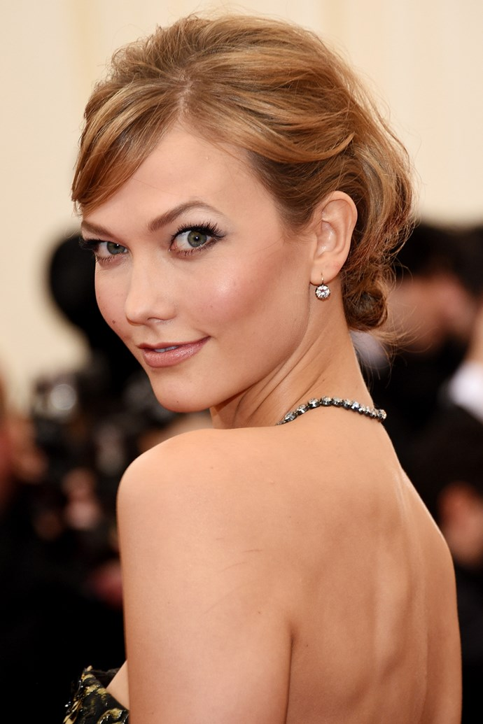 A classic updo at the 2014 Met Gala makes Kloss seem older than her then-21 years.
