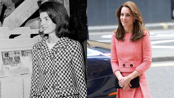 <strong>Jacqueline Kennedy Onassis in 1965 and Kate Middleton in 2016</strong> <br><br> Jackie and Kate prove the two-piece suit is a must-have for any woman of power.